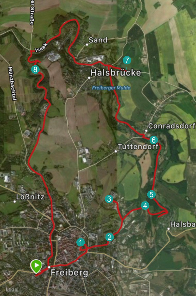 This map shows the route taken on my bike ride, and the interesting places where we stopped. You may be able to spot where we got a bit lost a few times